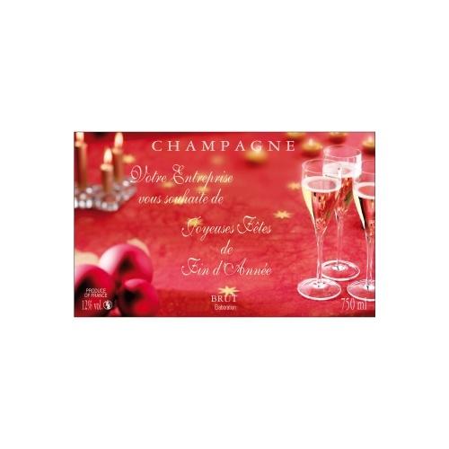 Étiquette de Champagne avec un fond rouge des éléments festifs