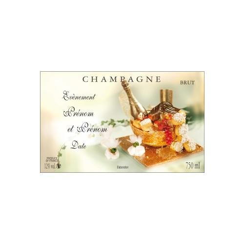 Étiquette de Champagne avec un décor de pièce montée