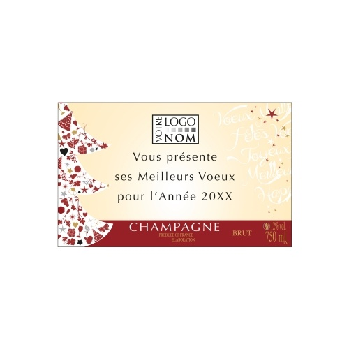 Étiquette de Champagne dans les tons rouge et crème pour personnaliser une bouteille