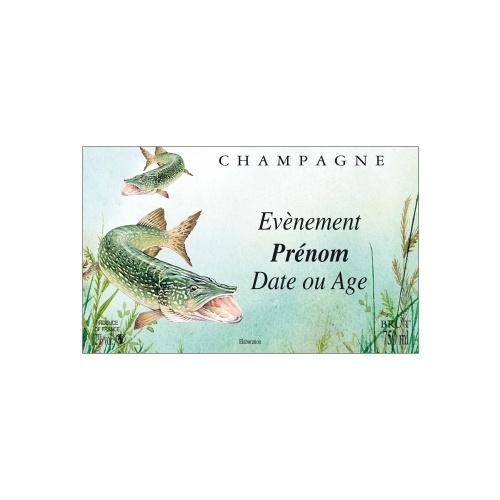 Étiquette de Champagne verte foncée avec un dessin d'un brochet