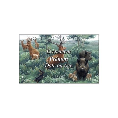 Étiquette de Champagne avec un décor de forêt et d'animaux