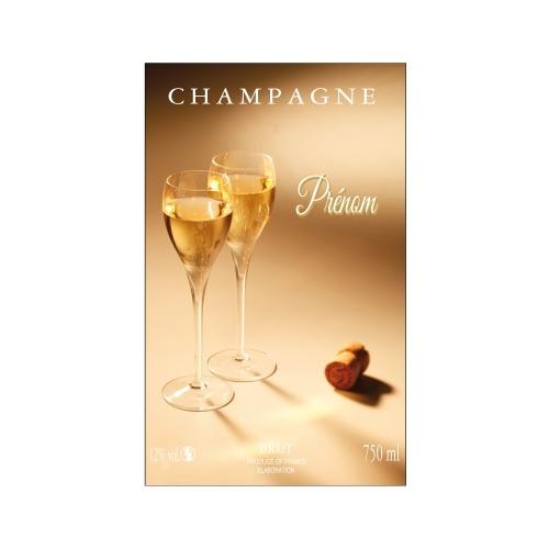 Étiquette de Champagne aux couleurs dorées avec un décor de flûtes