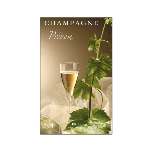Étiquette de Champagne avec un décor de flûtes et de feuilles de vigne