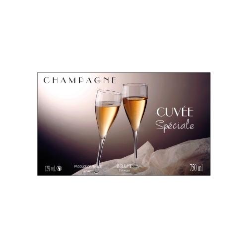 Étiquette de Champagne avec un fond violet et un décor de flûtes
