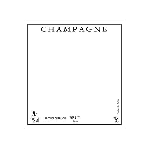 Étiquette de Champagne carrée neutre avec un liseré noir