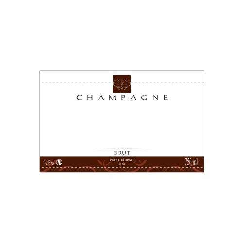 Étiquette de Champagne neutre avec une bande marron foncé