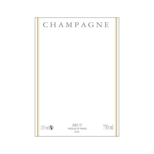 Étiquette de Champagne verticale neutre avec un liseré or à chaud