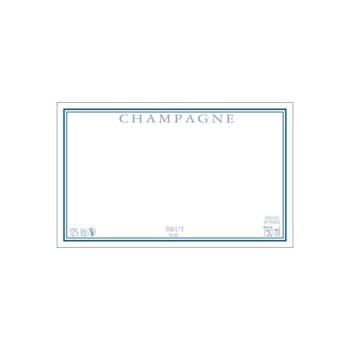 Étiquette de Champagne neutre avec un cadre bleu