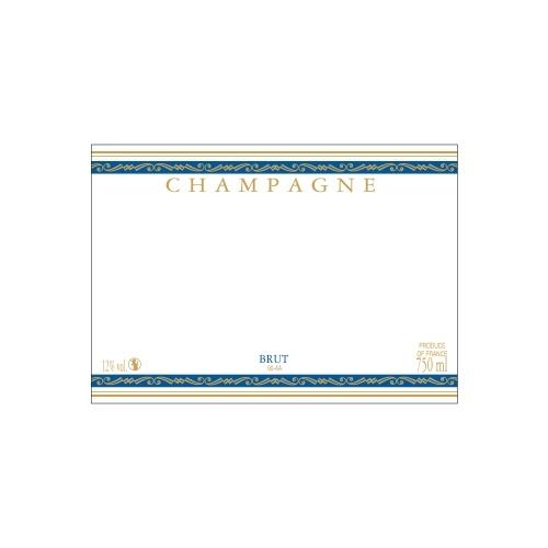 Étiquette de Champagne neutre avec un liseré or à chaud et deux bandes bleues