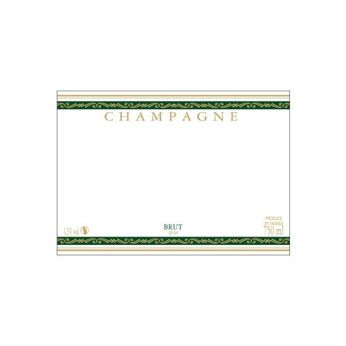 Étiquette de Champagne neutre avec un liseré or à chaud et deux bandes vertes