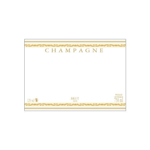 Étiquette de Champagne neutre avec un liseré or à chaud et deux bandes jaunes