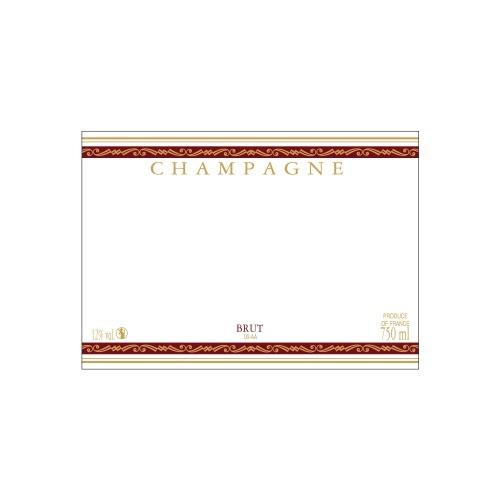 Étiquette de Champagne neutre avec un liseré or à chaud et deux bandes rouges
