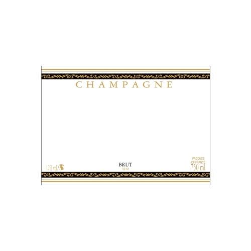 Étiquette de Champagne neutre avec un liseré or à chaud et deux bandes noires