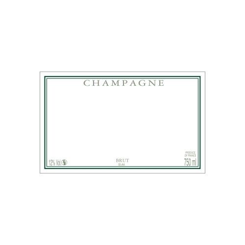 Étiquette de Champagne neutre avec un cadre vert foncé