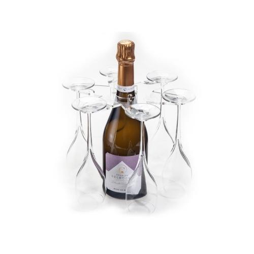 Bouteille de Champagne avec un porte-flûtes et ses flûtes de Champagne