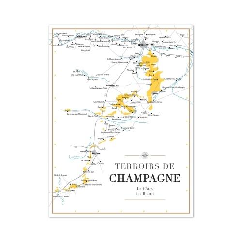 Affiche format A3 d'une carte géographique des terroirs en Champagne