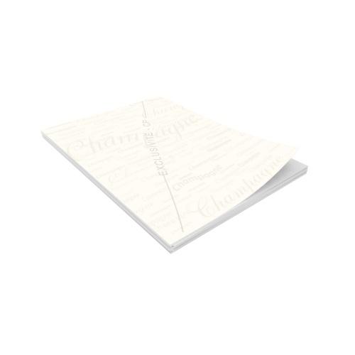 Ramette de papier préimprimé avec un décor de mots champagne