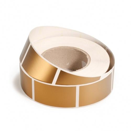 Rouleau d'étiquettes rectangulaires autocollantes or