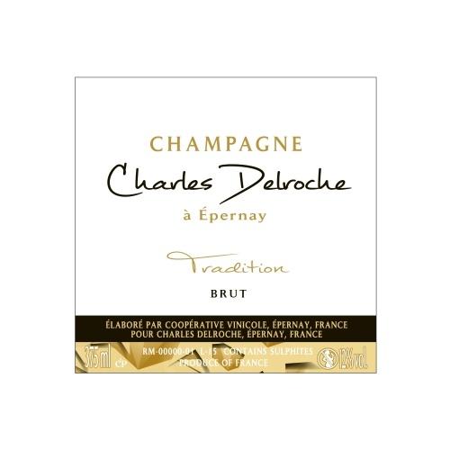 Étiquette de Champagne blanche avec une bande noire et une bande dorée