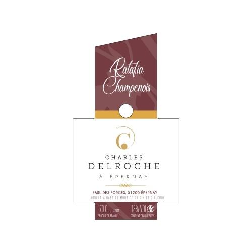 Étiquette verticale crème et bordeaux pour du Ratafia champenois