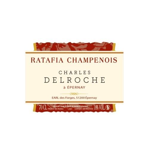 Étiquette bordeaux et crème pour une bouteille de Ratafia Champenois