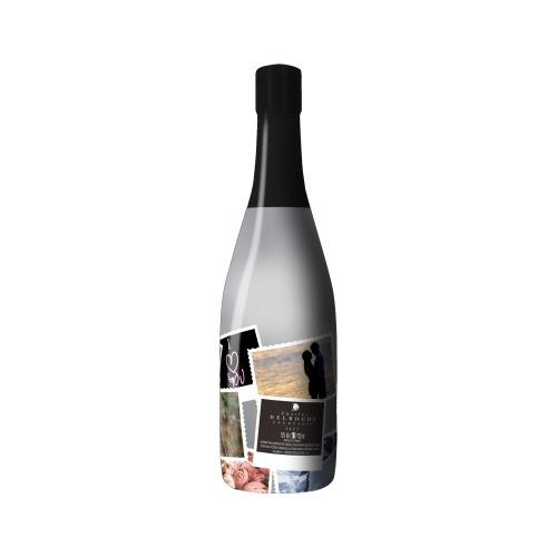 Sleeve sur une bouteille avec un décor de photos