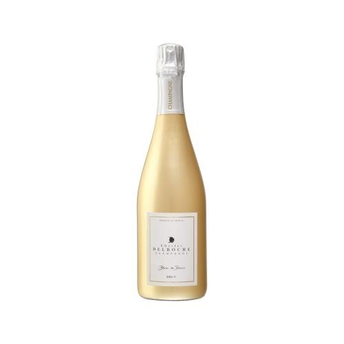 Sleeve or sur une bouteille de Champagne avec une coiffe courte