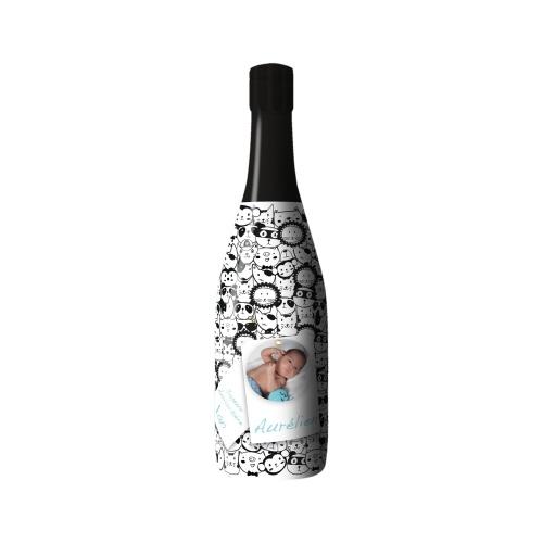 Sleeve avec un motifs d'animaux noir et blanc sur une bouteille
