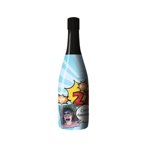 Sleeve avec un décor pop-art bleu sur bouteille