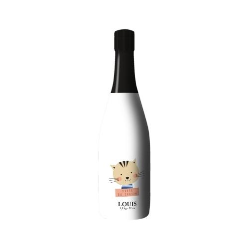 Sleeve blanc avec un dessin de chat sur bouteille de Champagne
