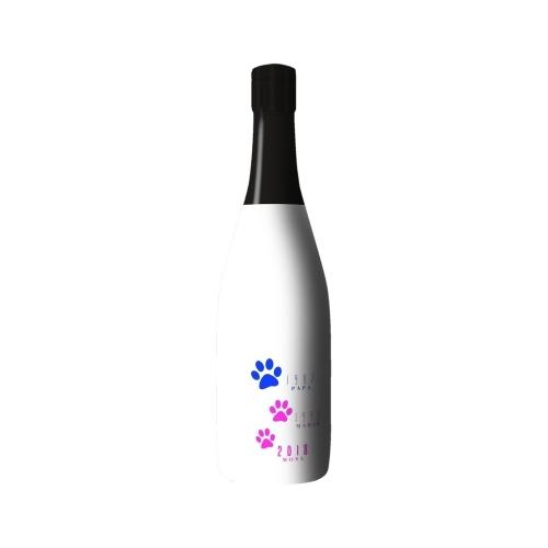 Sleeve blanc avec des pattes d'animaux sur bouteille de Champagne