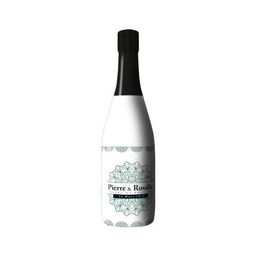 Sleeve blanc sur bouteille de Champagne avec un décor de mandala