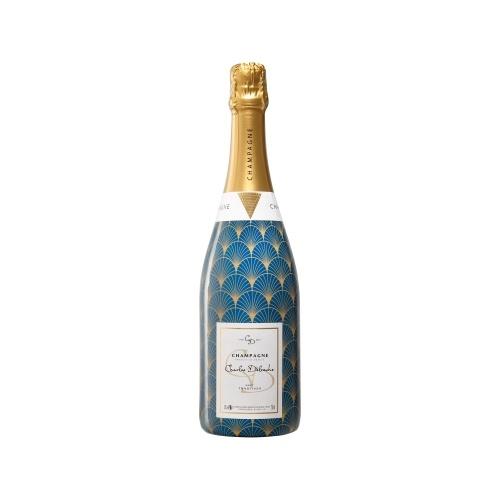 Bouteille de Champagne avec un sleeve à motifs art déco bleu et doré